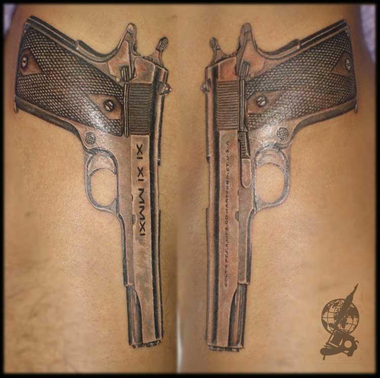 Тату пистолеты Кольт